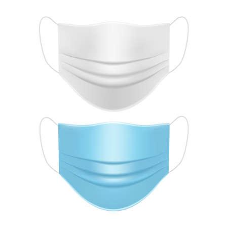 Medical face masks white and blue mockup. Vector illustration Ilustrace
