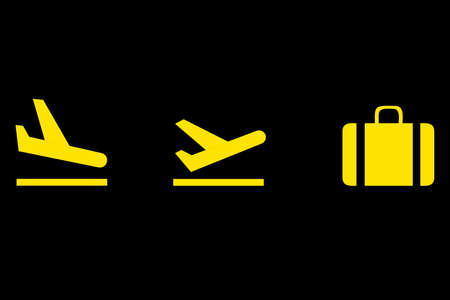 Airport icons set: departures, arrivals, baggage. Vector illustration
