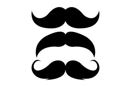 Set of three black retro mustaches isolated on white background. Vector illustration