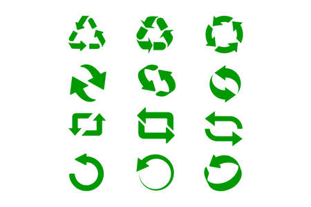 Set of green recycle signs. Circle arrow icon. Vector illustration