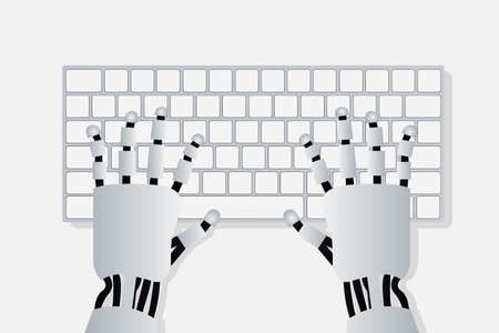 Hands of robot on computer keyboard. Artificial intelligence concept in flat design. Vector illustration Ilustrace
