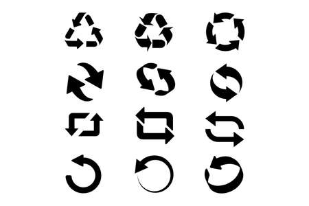 Set of circle refresh and reload arrows icons. Vector illustartion