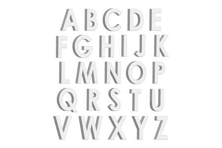 White 3d letters english alphabet. Volumetric font. Vector illustration