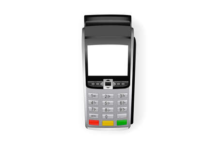 Payment terminal mockup - top view. Pos terminal with blank screen isolated on white background. Vector illustration