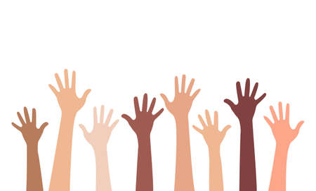 Multi-ethnic and Diverse Hands Raised Up Isolated on White Background. Vector Illustration Ilustrace
