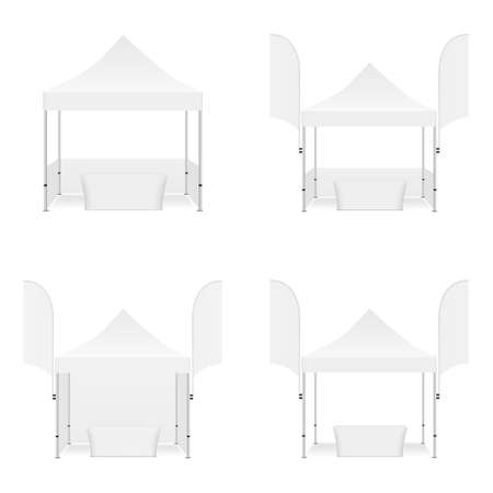 Set of Outdoor Tents with Flags and Tables Isolated on White Background. Vector Illustration