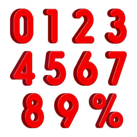 Red 3D Numbers with Percent Sign Isolated on White Background. Vector Illustration Ilustrace
