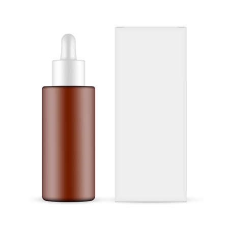Plastic Frosted Amber Dropper Bottle with Paper Box Mockup, Front View, Isolated on White Background. Vector Illustration Ilustrace