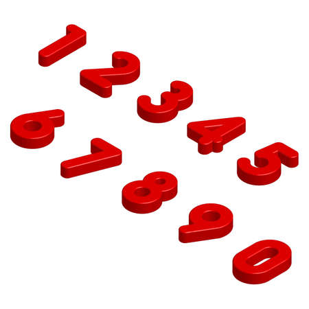Isometric Red 3D Numbers Isolated on White Background. Vector Illustration