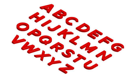 Red 3D Isometric Alphabet Isolated on White Background. Vector Illustration
