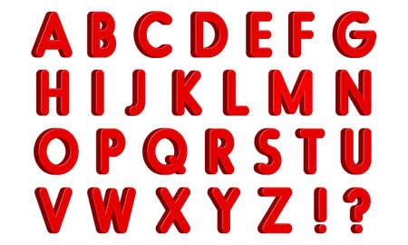 Red 3D English Letters with Exclamation and Interrogative Sign, Isolated on White Background. Vector Illustration