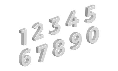 Isometric 3D Numbers Isolated on White Background. Vector Illustration