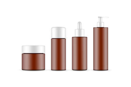 Frosted Amber Cosmetic Packaging Mockup: Jar, Dropper, Pump Bottle Isolated on White Background. Vector illustration Ilustrace