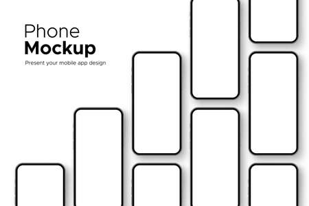 Mobile Phones Mockups with Blank Screens Isolated on White Background. Showing Your App Design. Vector Illustration