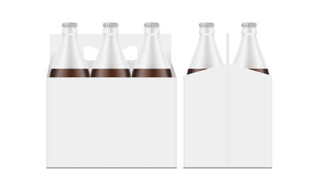 Six-Pack Brown Bottle Carrier Box Mockup, Front and Side View, Isolated on White Background. Vector Illustration Ilustrace