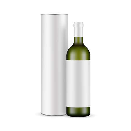 Green Glass Wine Bottle With Label and Cardboard Tube Mockup Isolated on White Background. Vector Illustration