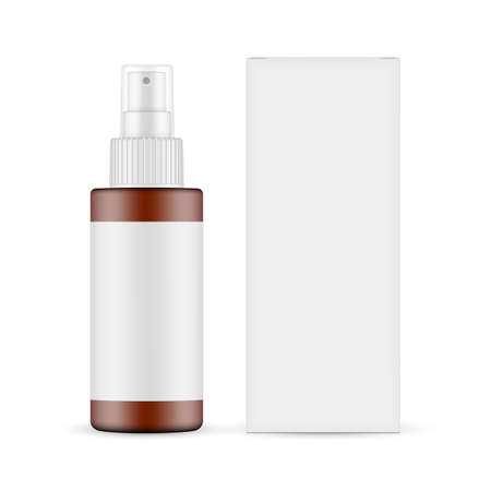 Plastic Frosted Amber Spray Bottle with Blank Label, Paper Box Front View, Isolated on White Background. Vector Illustration