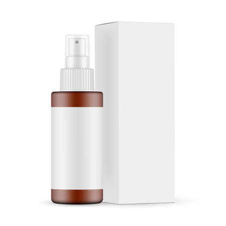 Plastic Frosted Amber Spray Bottle Mockup with Blank Label, Cardboard Box Side View, Isolated on White Background. Vector Illustration