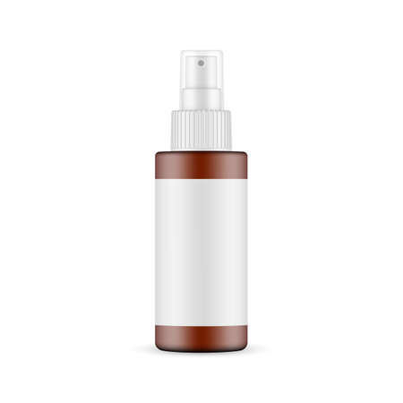 Plastic Frosted Amber Spray Bottle with Blank Label, Front View, Isolated on White Background. Vector Illustration Ilustrace