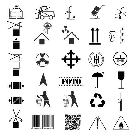 Image of collection of packing symbols. Cargo marking, transport marking Vektorové ilustrace