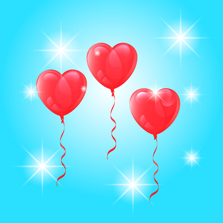 Vector, image, realistic, heart-shaped, balloons, bright, highlights, blue, sky, background