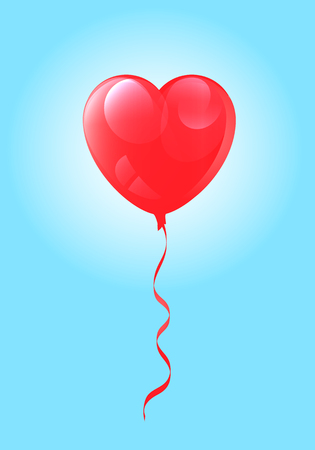 Vector image of realistic heart-shaped balloon with bright highlights on blue sky background