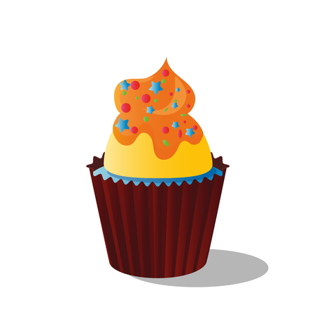 Vector image cupcake from shortbread dough of a decorated with cream, chocolate and decors, isolated on white background