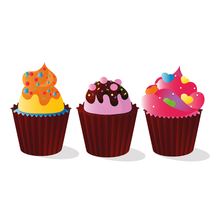 Vector drawing of bright cupcakes from shortbread dough decorated with cream, chocolate and colorful decorations, isolated on white background Vektorové ilustrace