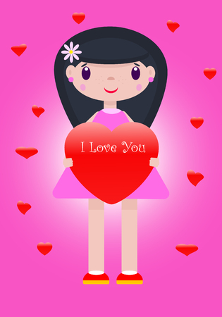 Vector romantic illustration of a cheerful, cute girl with a heart in her hands and inscription I love you on a pink and purple background with hearts of different sizes. Ilustração