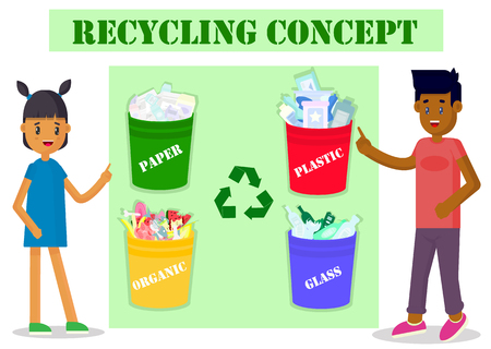 Ecology concept. Boy and girl pointing to garbage cans. Environmental protection and recycling.