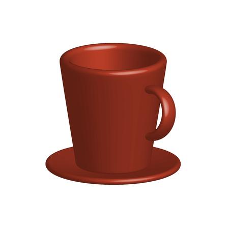 Vektor Realistische, farbenfrohe Zeichnung einer hellen 3D-Tasse mit einer Untertasse eines isolierten auf einem weißen Hintergrundmagier