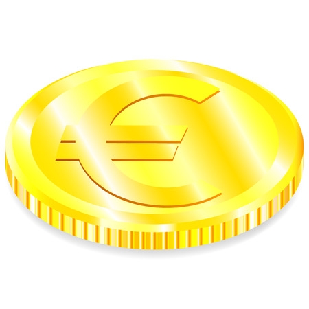 Vector, realistic, image, gold coin Euro sign shadow white background