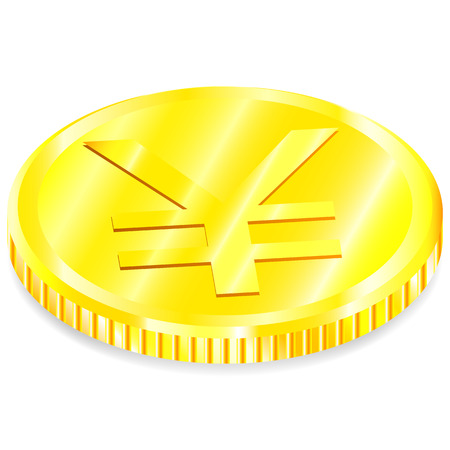 Vector realistic image of a of gold coin with the yen sign with a shadow on a white background