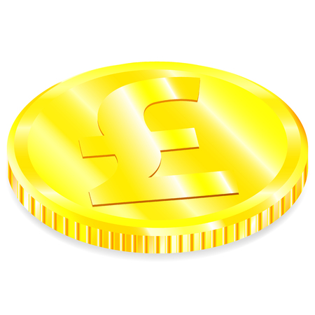 Vector realistic image of a of gold coin the with pound sign with a shadow on a white background