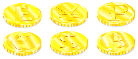 Vector realistic image set of a of golden coins the with various currency symbols with a shadow on a white background