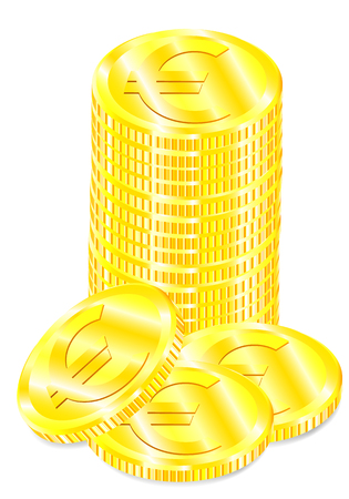 Vector realistic image set of a of golden coins the with symbol euro with a shadow on a white background