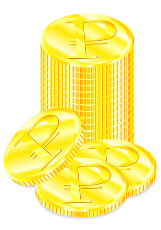 Vector realistic image set of a of golden coins the with symbol ruble with a shadow on a white background