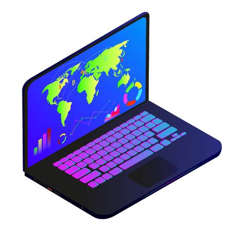 laptop on white background  イラスト・ベクター素材