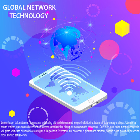 a mobile phone and of the globe on a colored background.