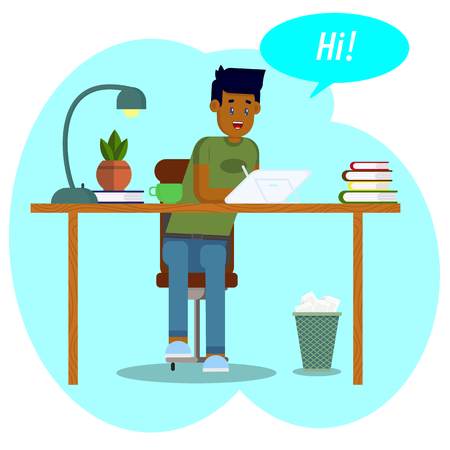 Vector illustration. Workspace concept. Student with a graphic tablet. Young man, businessman, graphic designer works sitting behind the desk using a tablet and graphic pen. The young man communicates in social networks