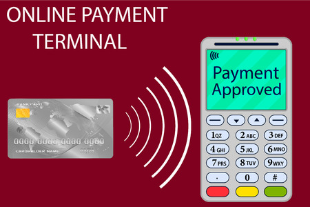 Vector illustration of bank card and terminal. Internet payments, online bank. Payment banking card online through the terminal. E-commerce. Sale, buy, financial operation, work with money, banking. Illustration