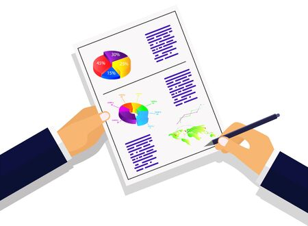 Vector illustrati. Business strategy calculations and planning.infographic on a colored background Stock Illustratie