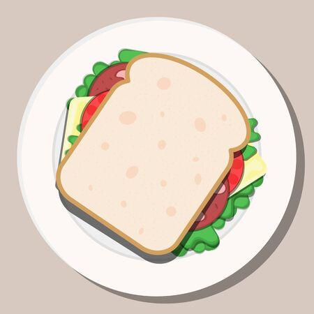 Vector drawing. Breakfast concept. Appetizing delicious sandwich. Çizim