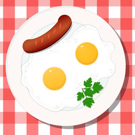 Vector drawing. Breakfast concept, fried egg with sausage. 写真素材 - 131752565