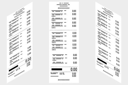 Vector illustration at Isometric. Set of paper financial, cashier's checks, invoice. Receipt of payment for services, purchases. Business, electronic commerce