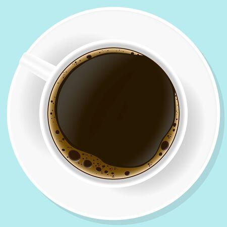 Vector illustration. Realistic a up of black coffe. Ilustração
