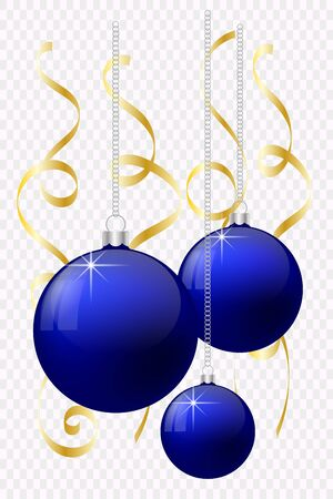 Vector illustration. Festive Christmas decoration. Blue Christmas balls with highlights with reflections and gold ribbons on isolated background