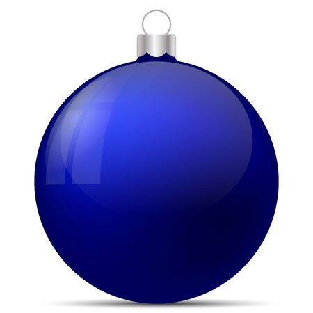 Vector illustration. Festive Christmas decoration. Blue Christmas ball with highlights and reflections white background with shadow