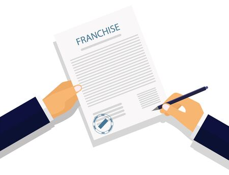 Vector illustration. The image of the hands of businessmen or lawyers and business person franchise agreement signatories. Modern concept for web banner, web sites, infographics.