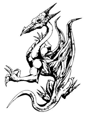 fabulous black and white dragon